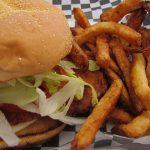 Hand-Breaded, crispy chicken burger at Fran's Chip Shop.