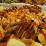 Waffle Cut Sweet Potato Fries Poutine with Sriracha Sauce